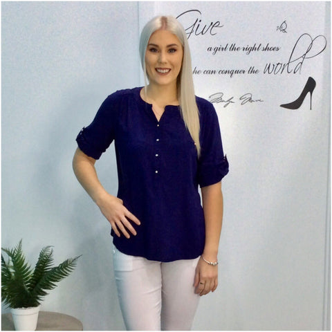 Quelque Tab Sleeve Blouse Navy