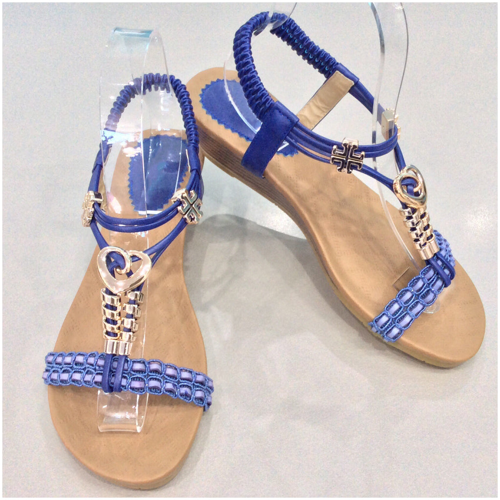 Joanna Heart Detail Small Wedge Sandals Blue