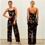 Silver Wishes Floral Print Lace Up Belt Detail Jumpsuit