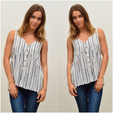 Silver Wishes Striped Print Button Through Top Navy