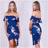 Sage Floral Print Off The Shoulder Dress Navy
