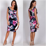 Teaberry Floral Dream Print Dress Black