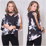 Zelly Floral Print Split Sleeve Top Black