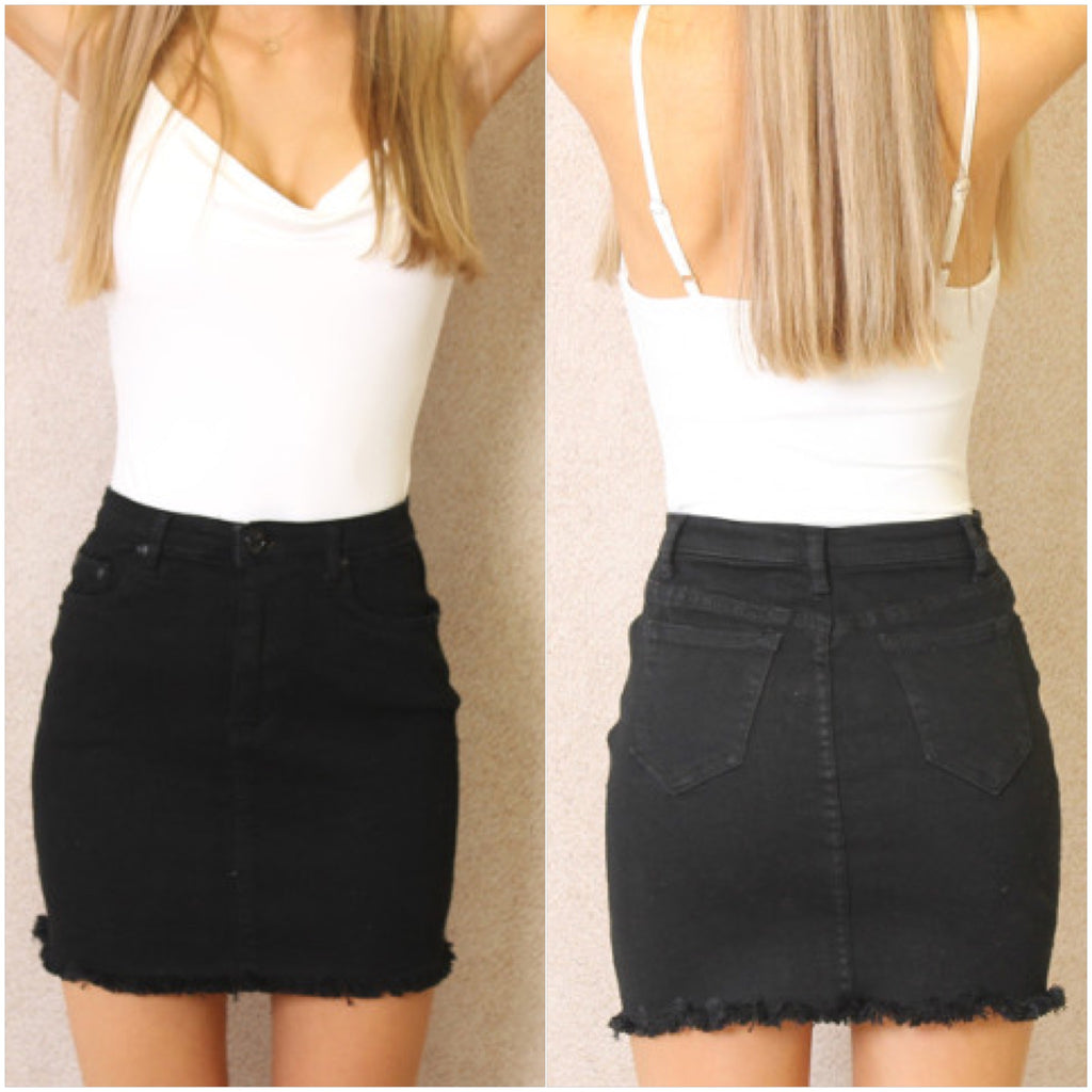 Cali Denim Skirt Black