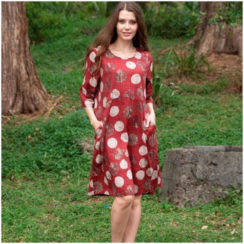 Willow Tree Polka Dot Print Dress Berry