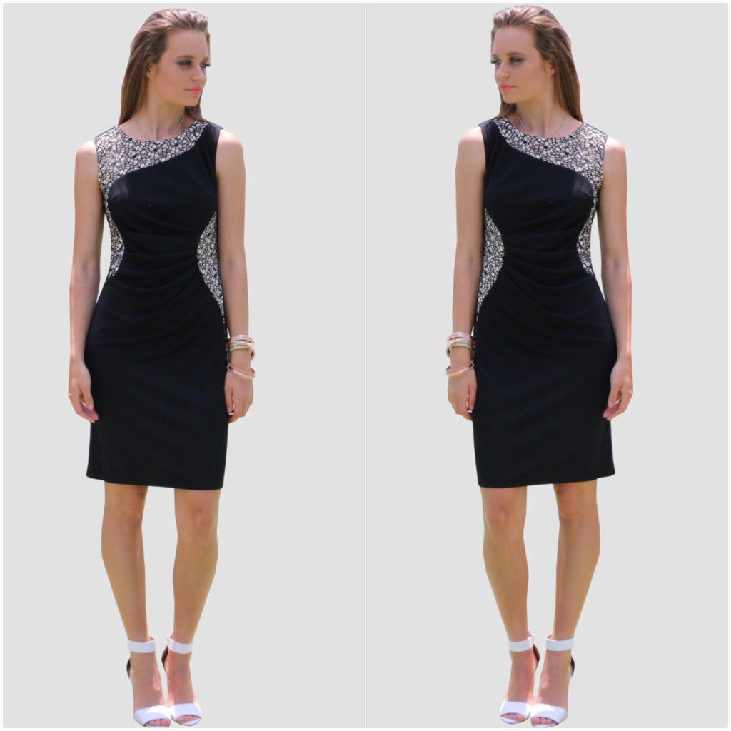 Teaberry Lace Insert Dress Black