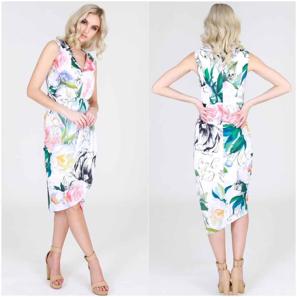 Third Love Floral Leaf Print Midi Dress
