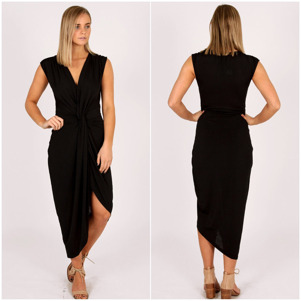 Third Love Sunset Knotted Midi Dress Black