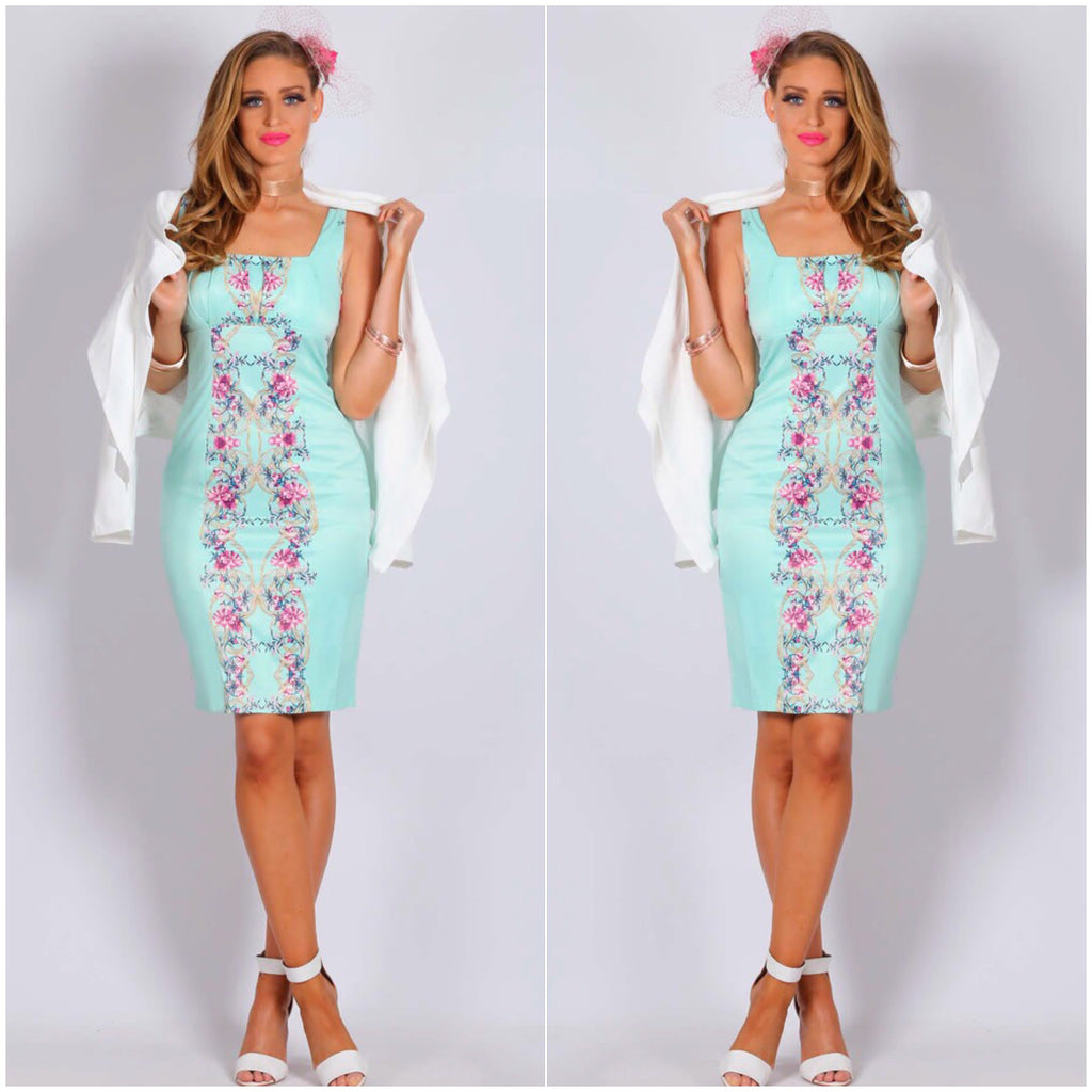 Teaberry Floral Print Mint Dress
