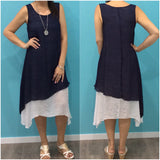 Missy Q Contrast Layered Dress Navy
