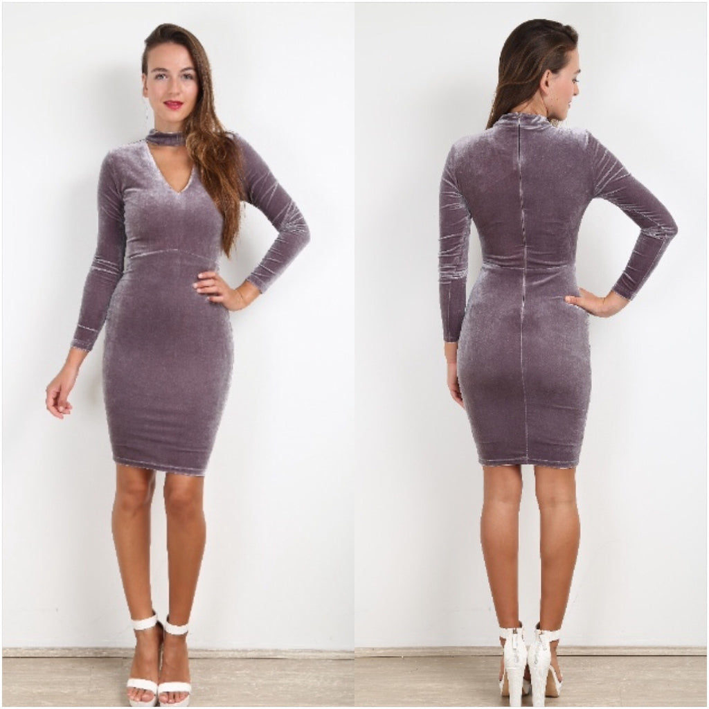 Aria Velvet Choker Dress Grey