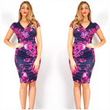 Teaberry Navy And Pink Floral Print Dress