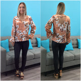 Silver Wishes Soft Floral Print V Neck Top Rust