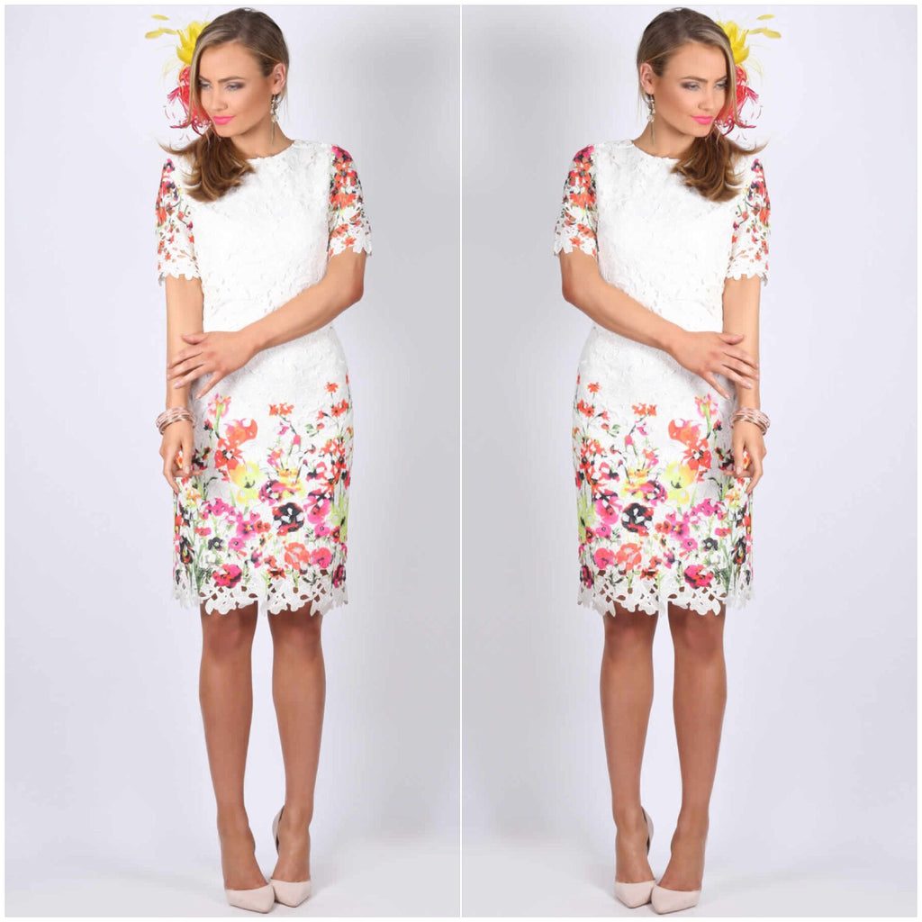 Teaberry Floral Print Short Sleeve Lace Dress