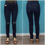Refuge Super Stretch Ripped Knee Jeans Indigo