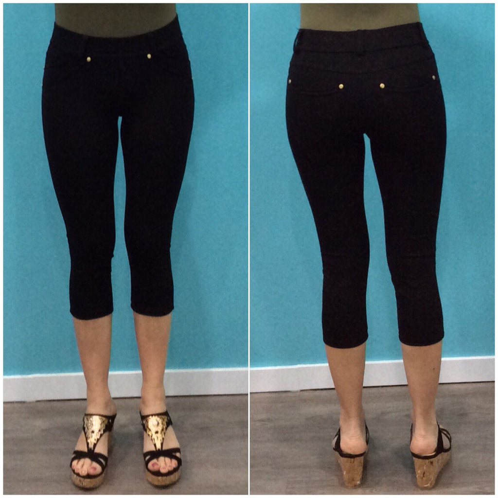 Quelque Three Quarter Jeggings Black
