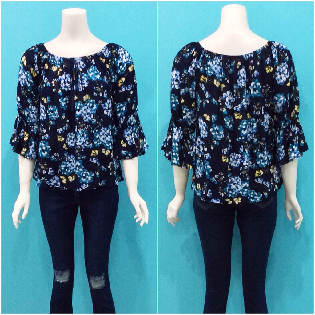 Missy Q Off The Shoulder Top Navy Floral Print