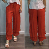 Missy Q Button Detail Resort Pants Rust