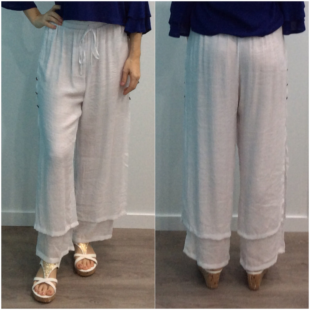 Missy Q Button Detail Resort Pants White