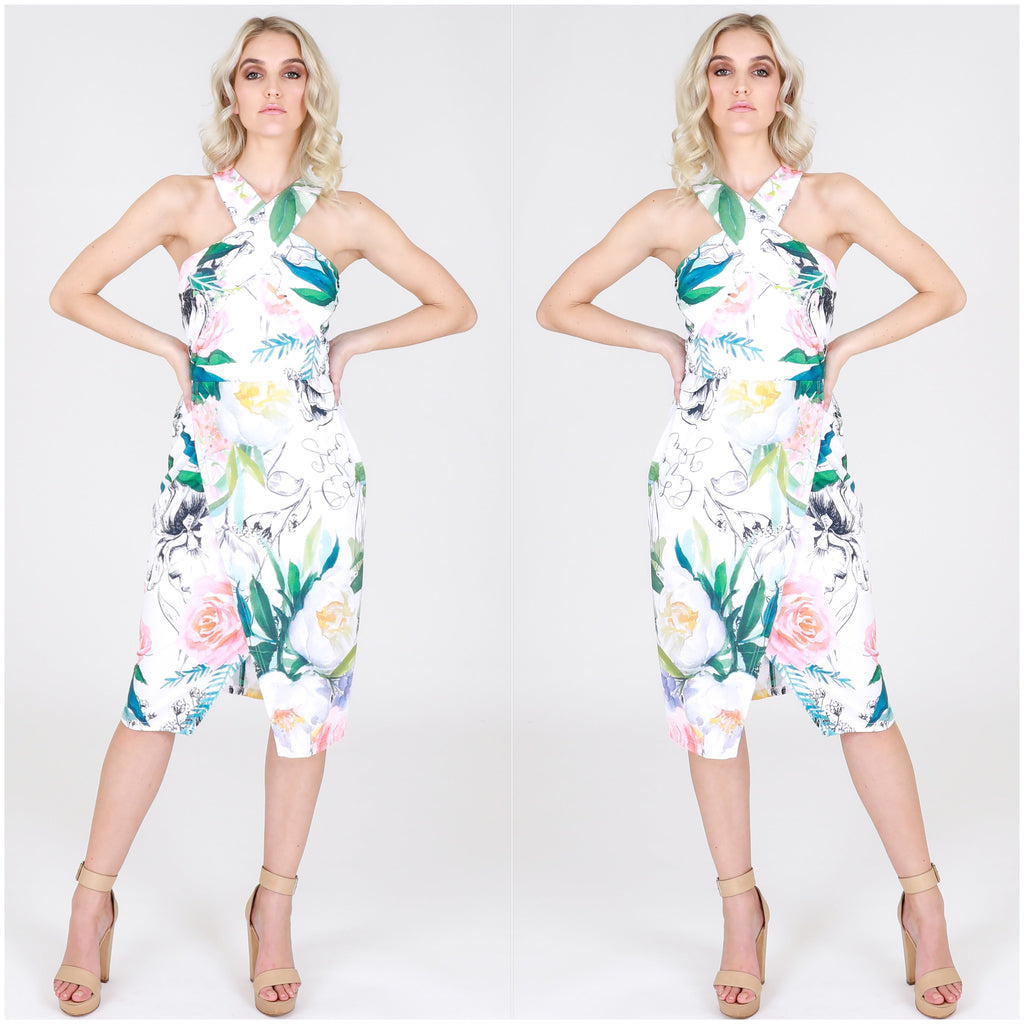 Third Love Floral Leaf Print Dress