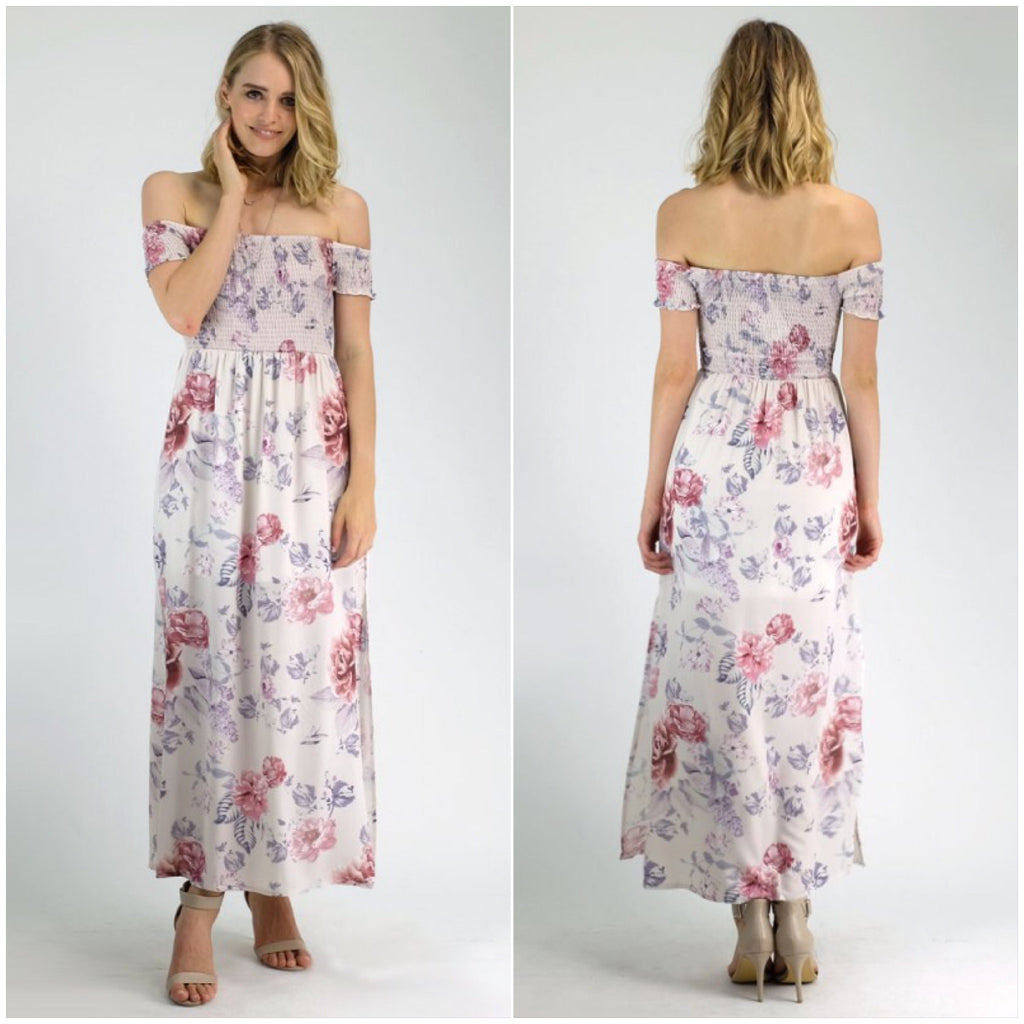 Lana Floral Print Maxi Dress Beige