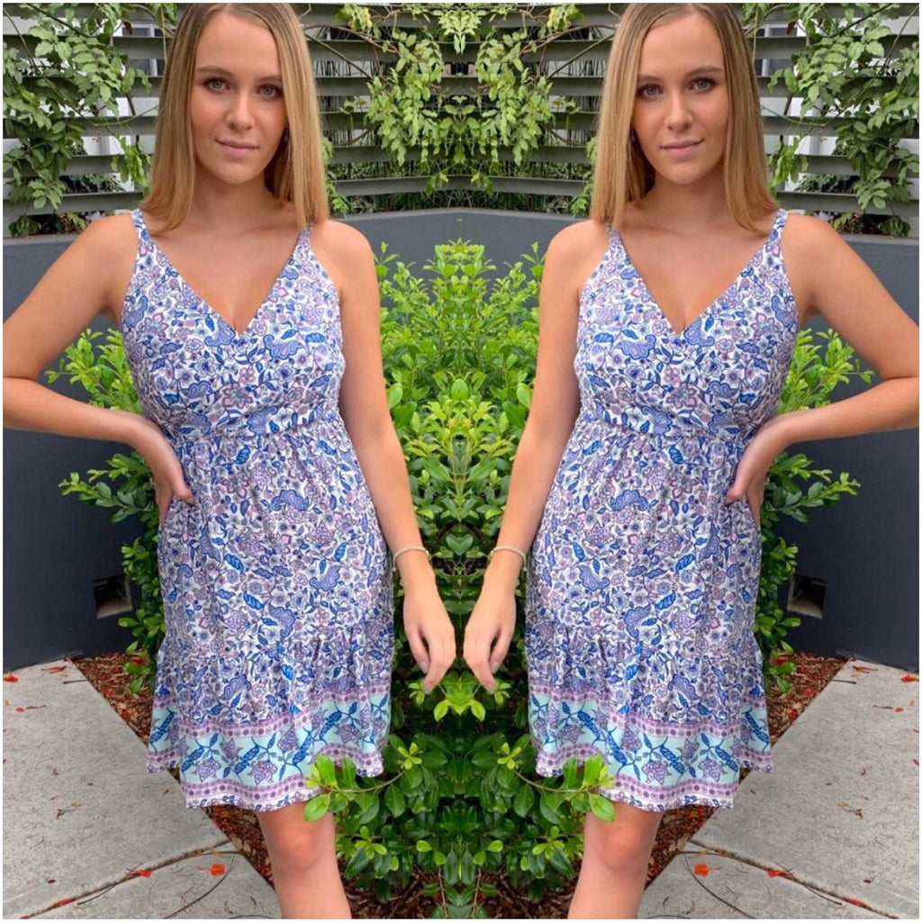 Silver Wishes Paisley Print Sun Dress Blue