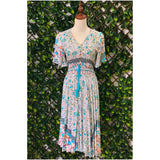 Silver Wishes Button Front Floral Midi Dress Teal