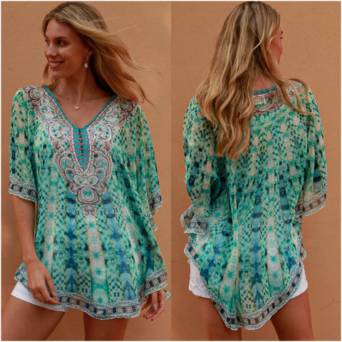 Isabella Boho Abstract Print Kaftan Aqua