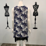 Missy Q Abstract Print Layered Tunic Blue Grey