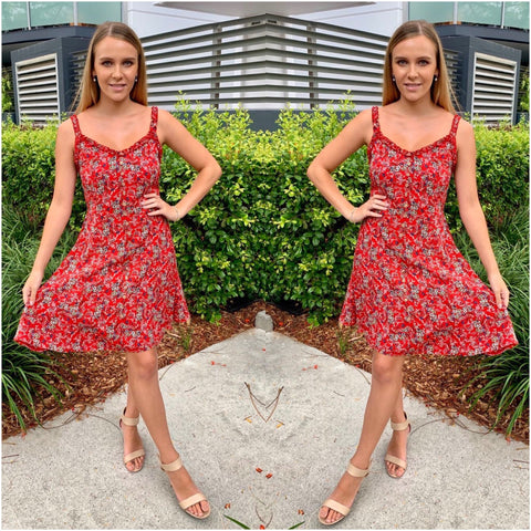 Silver Wishes Floral Print Sun Dress Red
