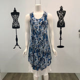 Missy Q Abstract Floral Print Layered Dress Blue