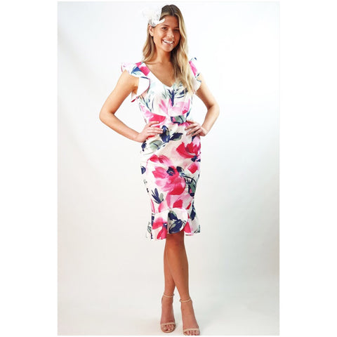 Teaberry Floral Frill Detail Mid Dress