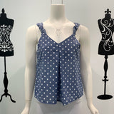 Silver Wishes Knot Detail Polka Singlet Denim