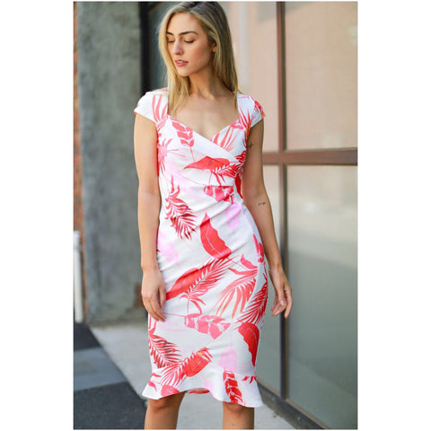 Third Love Leaf Print Frill Hem Dress White