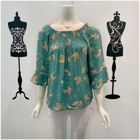 Missy Q Wildflower Print Frill Sleeve Top Aqua