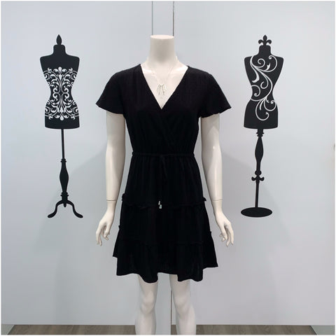 Maddie Tiered Textured Cotton Dress Black