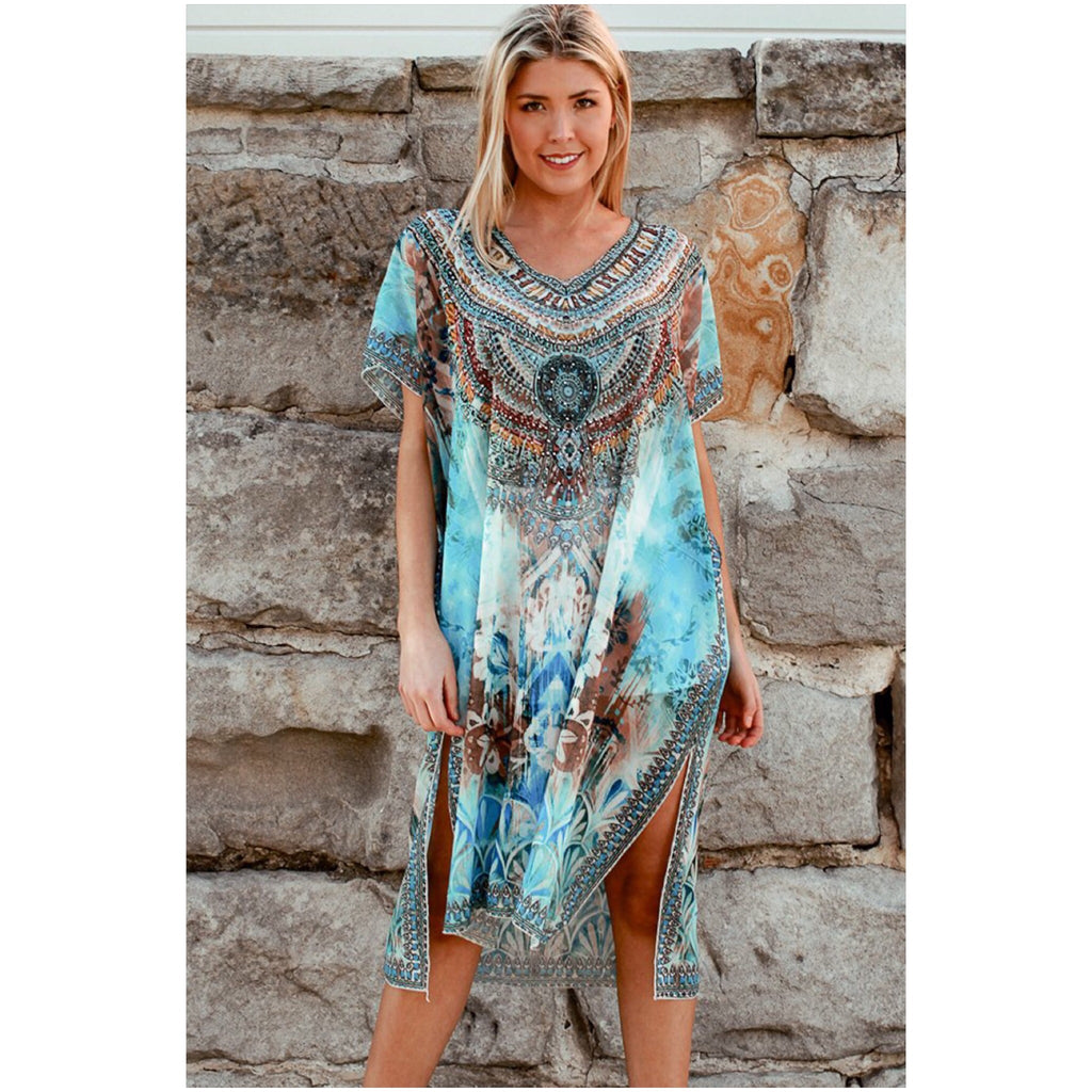 Isabella Boho Embellished Kaftan Light Blue