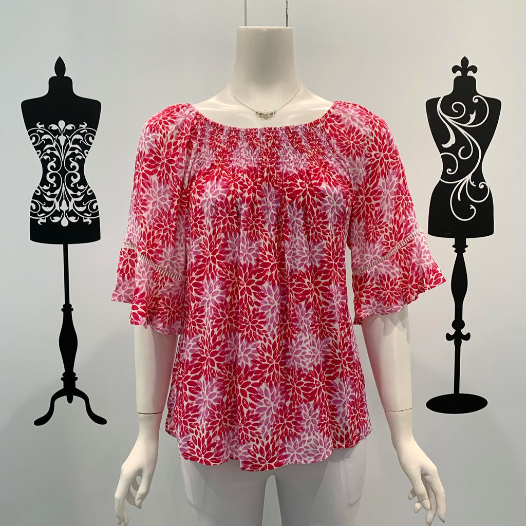 Willow Tree Floral Print Frill Sleeve Top Pink