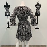 Silver Wishes Abstract Leopard Frill Sleeve Dress