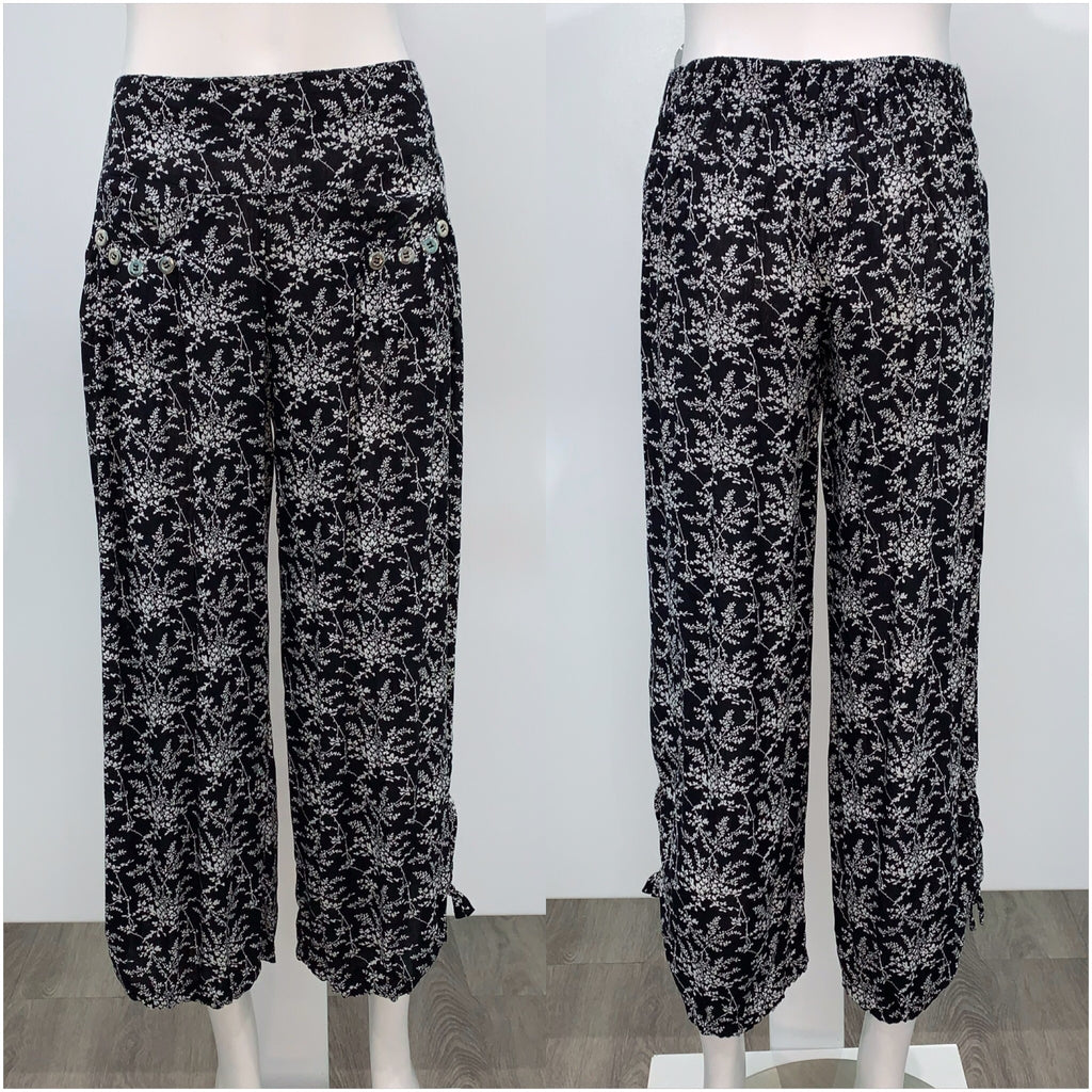 Missy Q Button Detail Fine Flower Print Harem Pants Black