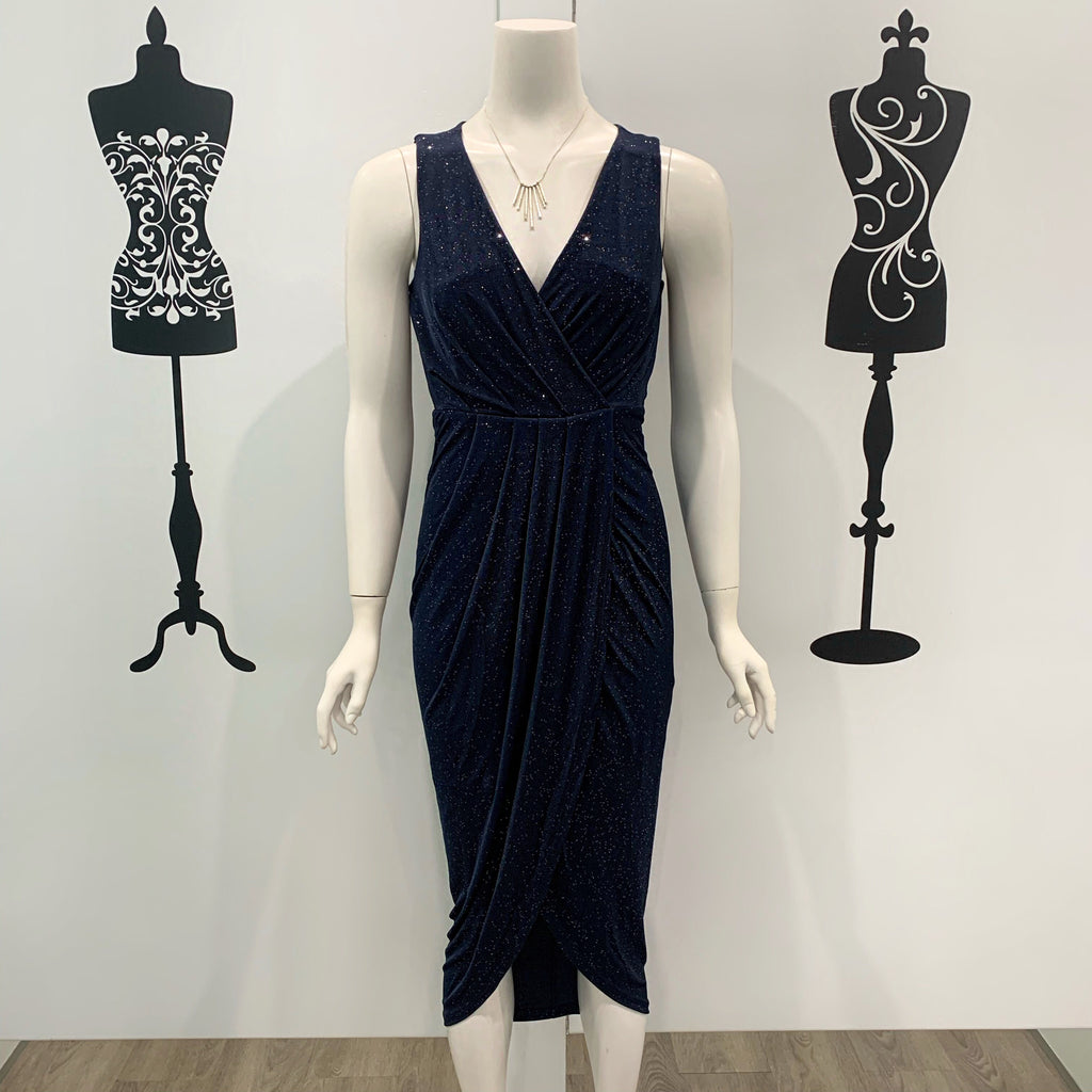Spicy Sugar Sparkle Midi Dress Navy