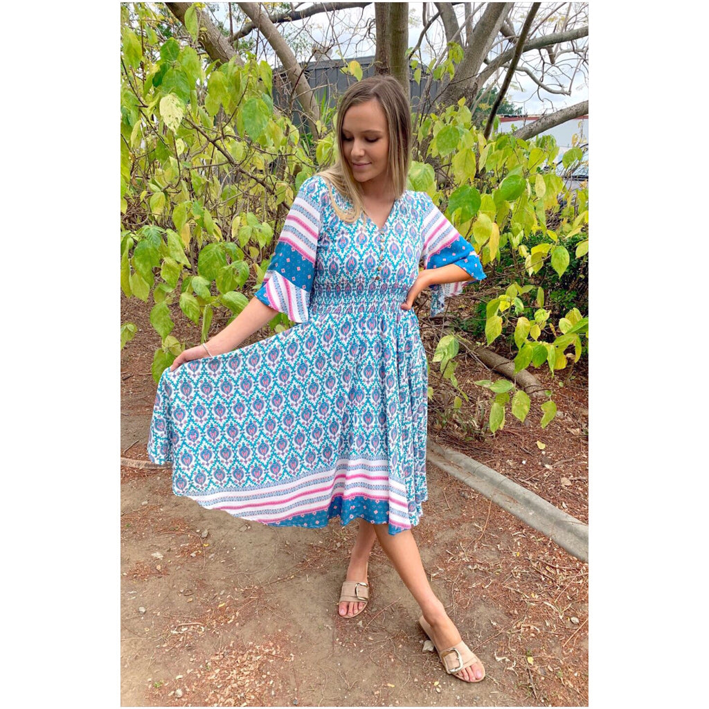 Willow Tree Boho Print Midi Dress Teal