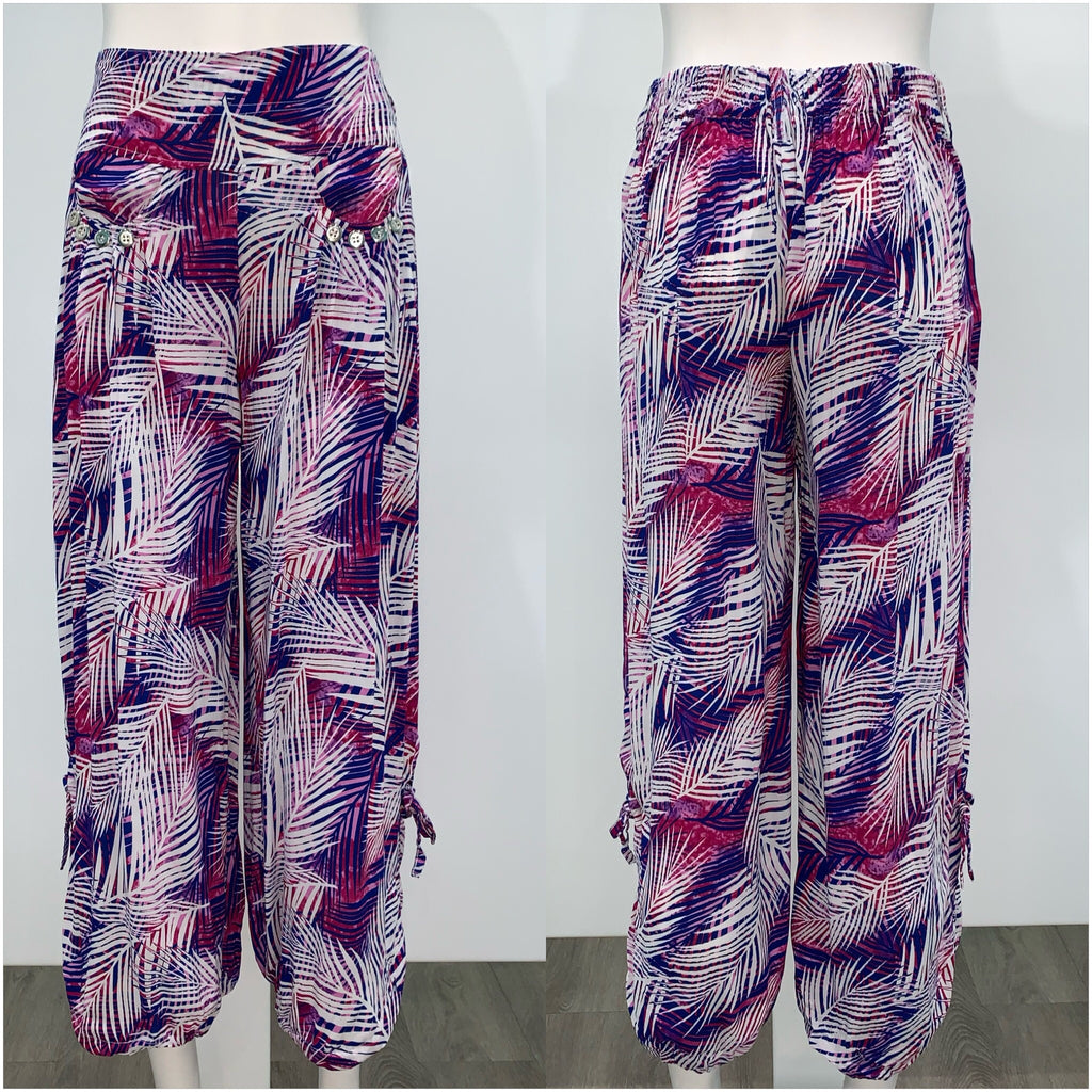 Quelque Button Detail Palm Leaf Harem Pants Purple