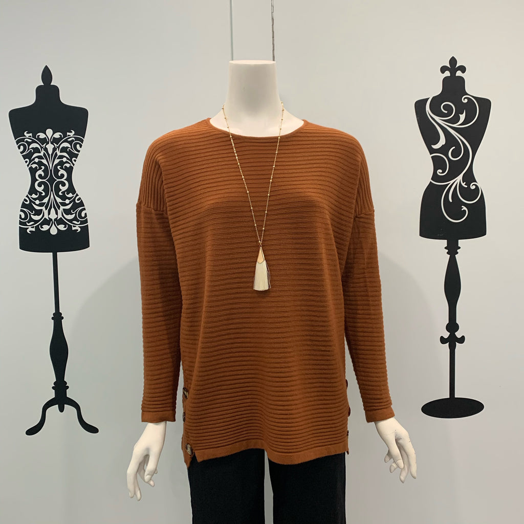 Willow Tree Button Detail Rib Knit Top Rust