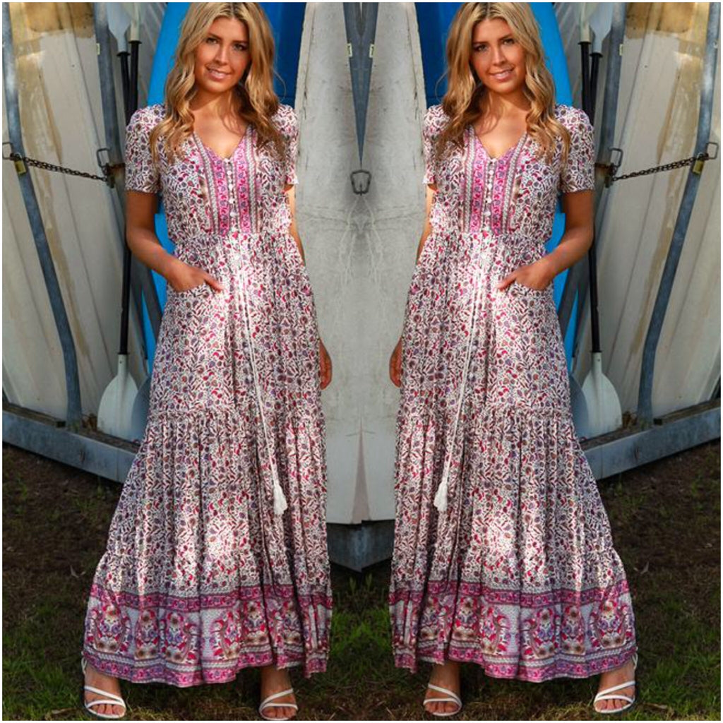 Krissy Pink and Purple Toned Fine Flower Print Maxi