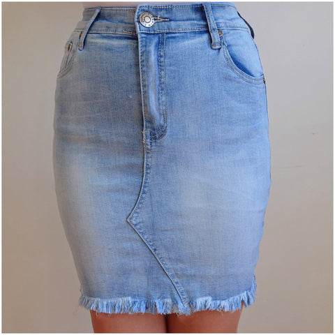 Ventura Denim Skirt Light Blue