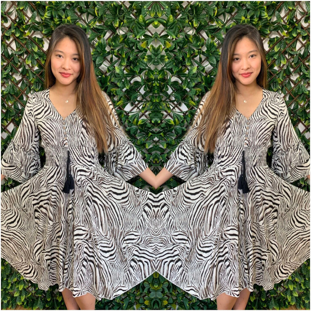 Silver Wishes Button Front zebra Print Midi Dress