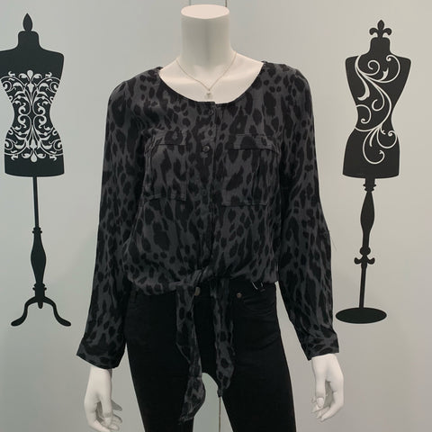 Silver Wishes Leopard Print Long Sleeve Top Grey