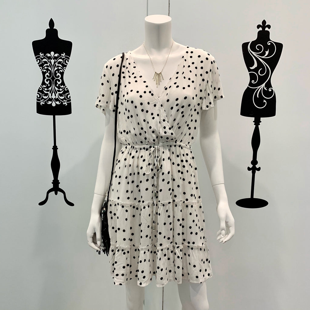 Maddie Tiered Polka Dot Dress White