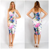 Teaberry Pink And Blue Floral Spaghetti Strap Dress